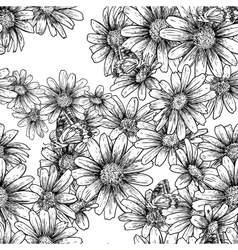 Vintage seamless monochrome pattern with daisies vector
