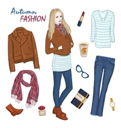 Fashionable clothing women composition vector