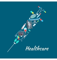 Healthcare surgery medical poster syringe symbol vector