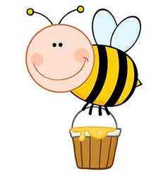 Smiling bee flying with a honey bucket vector
