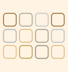 Square nautical ropes frames set vector