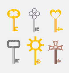 Vintage or antique door key isolated access vector