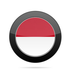 Flag of indonesia shiny black round button vector