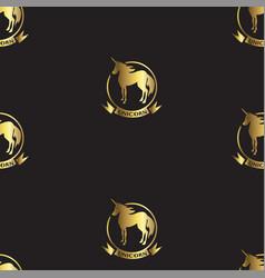 gold unicorns on black vector image