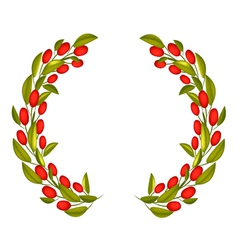 Olive wreath or olive crown with red fruit vector