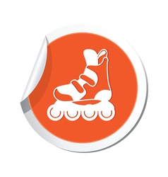 Rollerskates orange label vector