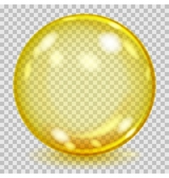 Big yellow transparent glass sphere vector