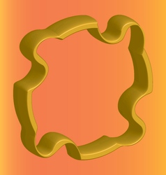 Three dimensional golden flange on an orange vector