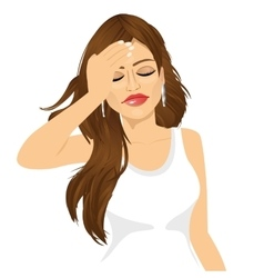 Brunette woman suffering a painful headache vector