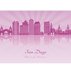 San diego skyline in purple radiant orchid vector