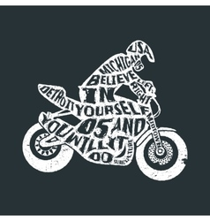 Typography lettering motorcyclist vector