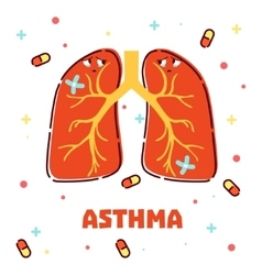Asthma concept with cartoon lungs vector