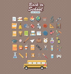 Back to school set of flat icon vector