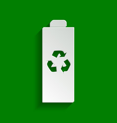 Battery recycle sign paper vector