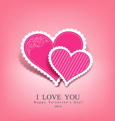 Beautiful pink heart paper vector image