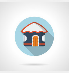 Blue beach hut flat round icon vector