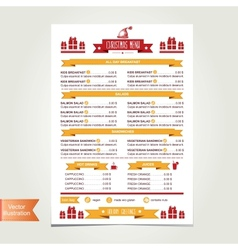 Cafe menu christmas template design vector