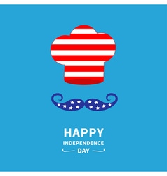 Chef hat and mustache independence day vector