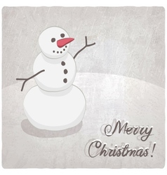 Christmas background with a snowman vector image vector image