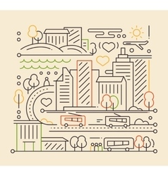 City life - line design composition vector
