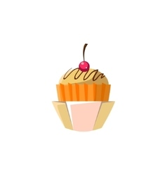 Cute cupcake in orange paper cup vector