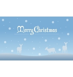 Deer with snow christmas landscape of silhouettes vector