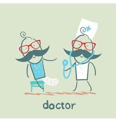 Doctor with a sick broken leg vector