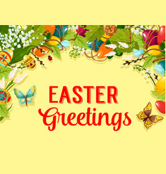 Easter egg flower and willow greeting card design vector