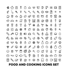 elegant food icons set created for mobile web and vector image