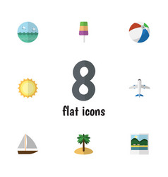 Flat icon beach set of ocean sundae coconut and vector