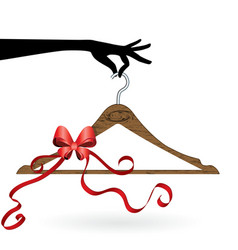 Hand hold hanger with ribbon vector
