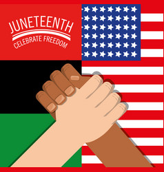 Hands together with flags celebrating freedom vector