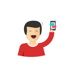 happy man smiling with hand up holding smartphone vector image