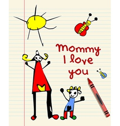 Happy Mothers Day child drawing vector image vector image
