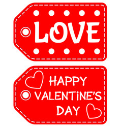 happy valentine day love heart circle tag set vector image
