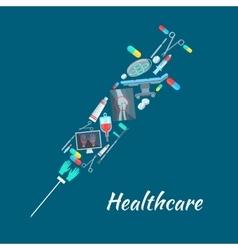 Healthcare surgery medical poster syringe symbol vector image
