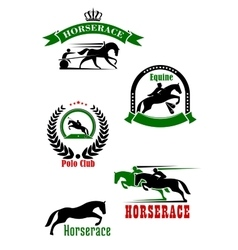 Horseracing dressage and polo club heraldic icons vector