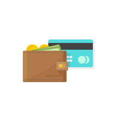 leather wallet with coins money paper cash and vector image vector image