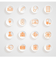 Medical icons button shadows set vector