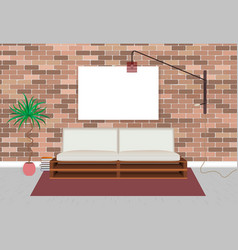 Mockup living bedroom interior in hipster style vector