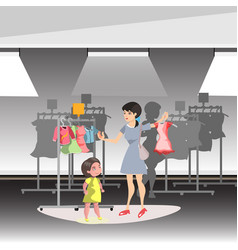 Mommy and little daughter shopping together in vector