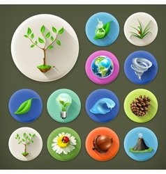 Nature and Ecology long shadow icon set vector image vector image