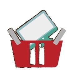 Red basket buying online computer screen wireless vector