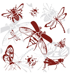 seamless background insects vector image vector image