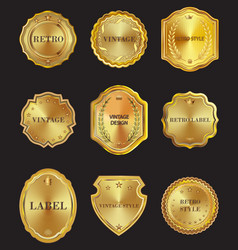 Set of golden metal design elements on black vector