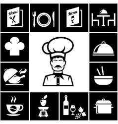 Set of restaurant icons in white on black vector