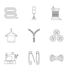 Sewing supplies icons set outline style vector image vector image