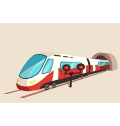 Sleek train movement from tunnel and flash light vector