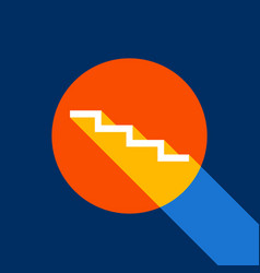 Stair down sign white icon on tangelo vector