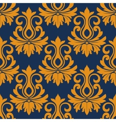 Symmetric golden flowers pattern vector